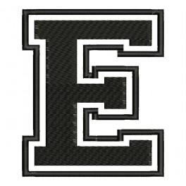 """Parche Bordado """"E"""" (Color NEGRO)"""