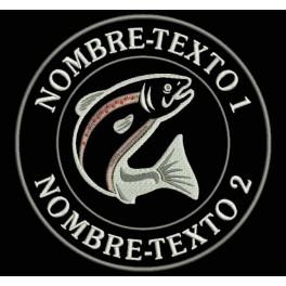 Parche Bordado PESCA TROUT (TRUCHA) FISHING (Fondo NEGRO)