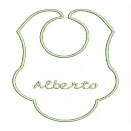 Babero Bebe Nombre Bordado (Diseño BP03 / Letra: Easy Script)