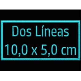 Parche Bordado Personalizable 2 Lineas (Bordado CELESTE / Fondo NEGRO)