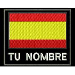Parche Bordado BANDERA con NOMBRE (Bordado:BLANCO / Fondo:NEGRO)