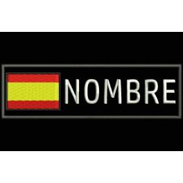 Parche Bordado BANDERA ESPAÑA y NOMBRE (Bordado:BLANCO / Fondo:NEGRO)