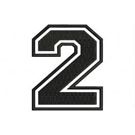 """Parche Bordado """"2"""" (Bordado:NEGRO / Fondo:BLANCO)"""