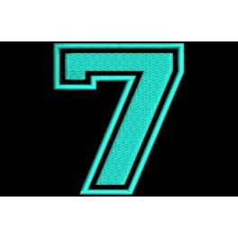 "Parche Bordado ""7"" (Bordado:AZUL CELESTE / Fondo:NEGRO)"