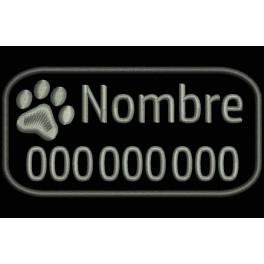 Parche Bordado Mascotas (Bordado:GRIS METAL / Fondo:NEGRO)