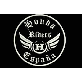 Parche Bordado HONDA RIDERS (Bordado:BLANCO / Fondo:NEGRO)
