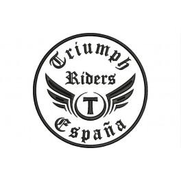 Parche Bordado TRIUMPH RIDERS (Bordado:NEGRO / Fondo:BLANCO)