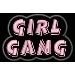 Parche Bordado GIRL GANG (Bordado:ROSA / Fondo:NEGRO)