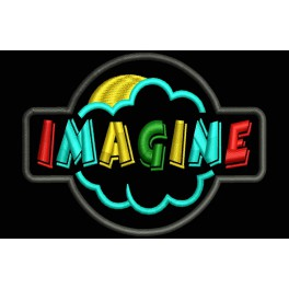 Parche Bordado IMAGINE (Fondo:NEGRO)