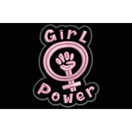 Parche Bordado GIRL POWER (Bordado:ROSA / Fondo:NEGRO)