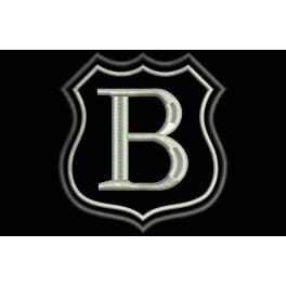Parche Bordado Escudo Letra B (Bordado PLATA / Fondo NEGRO)