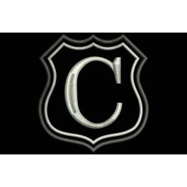 Parche Bordado Escudo Letra C (Bordado PLATA / Fondo NEGRO)