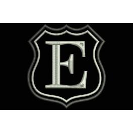 Parche Bordado Escudo Letra E (Bordado PLATA / Fondo NEGRO)