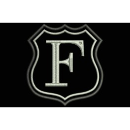 Parche Bordado Escudo Letra F (Bordado PLATA / Fondo NEGRO)