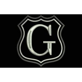 Parche Bordado Escudo Letra G (Bordado PLATA / Fondo NEGRO)