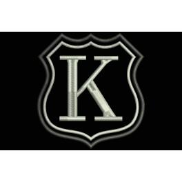 Parche Bordado Escudo Letra K (Bordado PLATA / Fondo NEGRO)