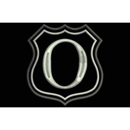 Parche Bordado Escudo Letra O (Bordado PLATA / Fondo NEGRO)