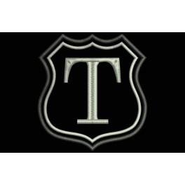 Parche Bordado Escudo Letra T (Bordado PLATA / Fondo NEGRO)