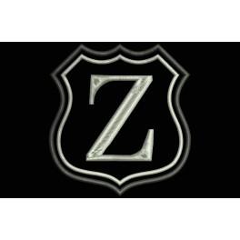 Parche Bordado Escudo Letra Z (Bordado PLATA / Fondo NEGRO)